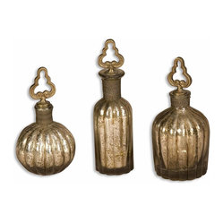 Uttermost - Kaho Antique Silver Perfume Bottles, Set of 3 - You don't have to wear a signature fragrance to appreciate the beauty of vintage perfume bottles. Add this delicate trio to your bathroom counter or keep them clustered together on a shelf. The silver finish and beautiful detailing will delight your senses without smelling up your room.