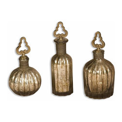 Uttermost - Kaho Antique Silver Perfume Bottles Set of 3 - You don't have to wear a signature fragrance to appreciate the beauty of vintage perfume bottles. Add this delicate trio to your bathroom counter or keep them clustered together on a shelf. The silver finish and beautiful detailing will delight your senses without smelling up your room.