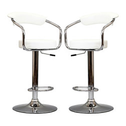 Diner Bar Stool Set of 2 - The 1950's Diner Bar Stool is a great choice for folks who want supreme comfort in a Bar Stool. Thick cushion greet the user like an old friend, and upholstered back rest invites you to lean back and relax. The base and pole's shiny chrome finish, give it a delightful retro feel; have the best of yesterday today.