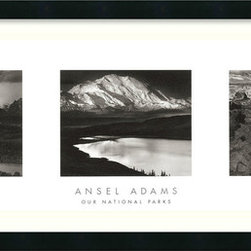 "Amanti Art - ""Our National Parks (Triptych)"" Framed Print by Ansel Adams - In the grand scheme of things, these magnificent prints hold their own. This photo triptych of monumental natural wonders creates a larger than life statement for almost any space in your room."
