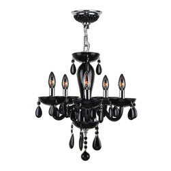 "Worldwide Lighting - Gatsby 5-Light Chrome Finish and Black Blown Glass Chandelier 16"" D x 18"" H Mini - This stunning 5-light Chandelier only uses the best quality material and workmanship ensuring a beautiful heirloom quality piece. Featuring a radiant chrome finish and blown glass in glossy jet black finish, this elegant chandelier is a work of art in its quality and beauty. Worldwide Lighting Corporation is a privately owned manufacturer of high quality crystal chandeliers, pendants, surface mounts, sconces and custom decorative lighting products for the residential, hospitality and commercial building markets. Our high quality crystals meet all standards of perfection, possessing lead oxide of 30% that is above industry standards and can be seen in prestigious homes, hotels, restaurants, casinos, and churches across the country. Our mission is to enhance your lighting needs with exceptional quality fixtures at a reasonable price."