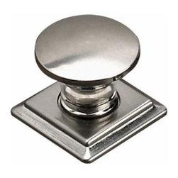 Richelieu Hardware - Richelieu Contemporary Metal Round Knob Square Backplate 32mm Nickel - Richelieu Contemporary Metal Round Knob Square Backplate 32mm Nickel