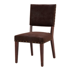 Four Hands - Blake Dining Chair, Nubuck - Gather family and guests to your table knowing they'll be in for absolute style and comfort. This handsome upholstered chair is covered in bicast leather and finished with chunky brass studs.