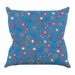 """Kess InHouse - Michelle Drew """"Meadow"""" Navy Paisley Throw Pillow (18"""" x 18"""") - Rest among the art you love. Transform your hang out room into a hip gallery, that's also comfortable. With this pillow you can create an environment that reflects your unique style. It's amazing what a throw pillow can do to complete a room. (Kess InHouse is not responsible for pillow fighting that may occur as the result of creative stimulation)."""