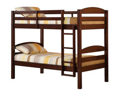 Walker Edison - Walker Edison Twin Over Twin Solid Wood Bunk Bed in Espresso Finish - Walker Edison - Bunk Beds - BWSTOTES - Elegance and function combine to give this contemporary wood bunk bed a striking appearance. The design gives a stylish modern look crafted with beautiful solid wood. Designed with safety in mind the bed includes full length guardrails and a sturdy integrated ladder. Great for any space-saving design needs. Unlike other twin bunk beds this bed also converts into 2 twin beds.