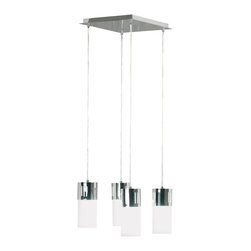 Kenroy - Kenroy 80505CH Cylinder Modern / Contemporary Chandelier - Perfect for counters and islands, Cylinder is a modern down light with the sleek and clean head of chrome and white glass. Energy efficient fluorescent bulbs are included. Cord length are easily adjustable.