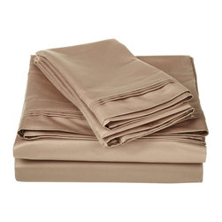 1500 Thread Count Egyptian Cotton Cal. King Taupe Solid Sheet Set - 1500 Thread Count oversized California King Taupe Solid Sheet Set 100% Egyptian Cotton