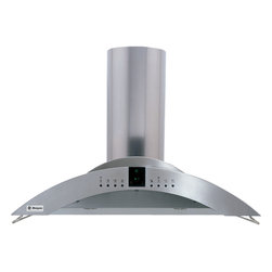 "GE Monogram - GE Monogram® 36"" Island Vent Hood - A GE Monogram range hood provides the power necessary to capture the smoke and steam produced by high-performance cooking equipment. All hoods are equipped with a variable-speed fan that helps reduce energy usage and sound levels by operating continuously at a low speed, reaching maximum power only as needed for boiling, sautéing and stir-frying."