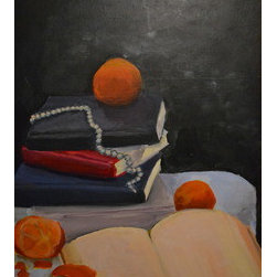 """Still Life With Oranges"" (Original) By Ellie  O'Connor - This Painting Is Intended To Be A Portrait Of What Reading Feels Like For Me: Gentle And Romantic And Often A Little Bit Sad. There Is A Sort Of Romance In Items And Ideas That Could Be Found Today, That Could Have Existed A Hundred Years Ago, And That Will Probably Continue To Exist For Another Hundred Or Longer, Of The Sort That Can Be Found When Reading."