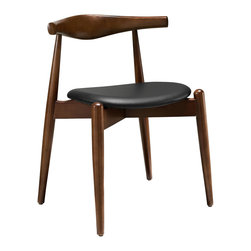Steadfast Chair in Walnut - Here's a chair you can depend on to be sturdy and handsome for years to come. Its gently tapered legs stand out at the front, complementing the cushioned vinyl-upholstered seat. It makes an excellent choice for the home office or around a breakfast table in the dining nook.