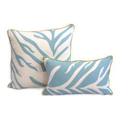 Zebra Dec Pillow, Turquoise