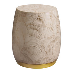Bauble Drum - Baker Furniture - The Bauble Drum is a small drum table that gleams with an organic hand-painted Geode pattern in Golden Geode. Evocative of both earthly and heavenly beauty.