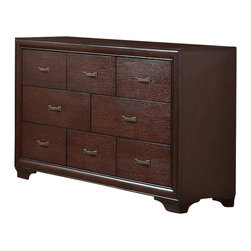 Coaster - Coaster Simone 8 Drawer Dresser in Cappuccino Finish - Coaster - Dressers - 202183 - For exceptional function and style, this fashionable eight drawer dresser cannot be beat. While subtly adorned, this piece's understated beveled edging and carved bracket legs add a bit of panache to the Cappuccino-colored wood dresser. Eight drawers, fitted with brushed metal drawer handles, provide all the room you need to keep clothes, linens, and accessories neat and tidy. Dovetail drawer construction ensures that your drawers can withstand extra weight, so storing sweaters and winter clothes is no hassle. Pair this dressing chest with a tall mirror to create a handy vanity area for make-up and morning prep.