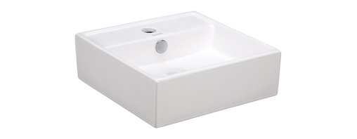 Elite Sinks - Porcelain White Wall-Mounted Square Sink - For a lovely wall-mounted sink that will fit cleanly into any design scheme, this one's a winner. With straight lines and white porcelain, this is a timeless addition that looks modern and timeless and won't leave you worrying if you decide to change things up around it.