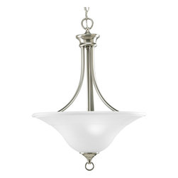Progress Lighting - Progress Lighting P3474-09 3-Light Foyer with Etched Glass Inverted Bowl Style - Progress Lighting P3474-09 3-Light Foyer with Etched Glass Inverted Bowl Style