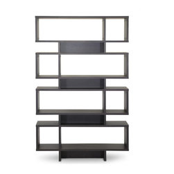 Baxton Studio - Baxton Studio Cassidy 8-Level Dark Brown Modern Bookshelf - Inject a boost of dazzling contemporary interior fashion into your living space: our Cassidy Designer Bookshelf is a sculptural, eye-catching piece sourced from Malaysian craftsmen. Made with smooth dark brown faux (Espresso)wood grain paper veneer, the Cassidy Display Shelf features an engineered wood frame built with eight levels, seven of which can be used for display of your decor collection. Dusting with a dry cloth is recommended for cleaning of this unit. A 4-level and 6-level option of the Cassidy Shelf are also available (each sold separately).