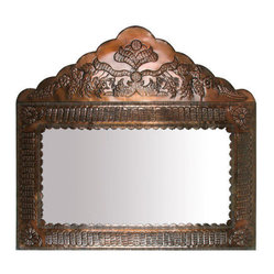 Aged Tin Peaked Deco Mirror