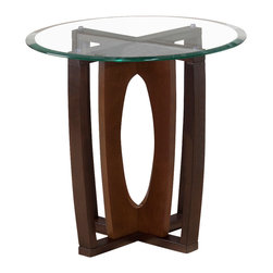 Jofran - Jofran Ellipse Round Beveled Glass End Table in Cherry - This round glass top end table from Jofran is part of the ellipse series. This series is constructed using solid Asian hardwood and cherry veneer. Table comes in a beautiful cherry. We invite you to browse furniture that takes craftsmanship and style beyond the expected. The ellipse oval glass top end table from Jofran will tastefully complement your decor and transform your room with luxury and style.
