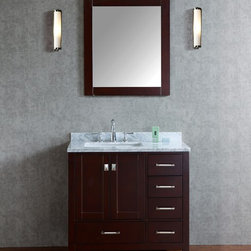 """NEW 36"""" Bella Bathroom Vanity - Stain Espresso - Beautiful transitional style bathroom vanity by Ari Kitchen and Bath, a new brand manufacturing quality bathroom decor at affordable prices. The new 36"""" Bella comes with 1"""" edge Italian carrara marble top, backsplash, undermount CUPC basin, soft-closing drawers & doors, concealed drawer hinges, stained espresso framed mirror and stained espresso solid wood bathroom cabinet. Absolutely no MDF or Particle board on all of our bathroom vanities. All of our bathroom vanities come assembled by the manufacturer, minimal assembly required."""
