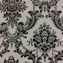 Black and white damask wallpaper - This black and white classic design can really provide a great accent wall in any room.