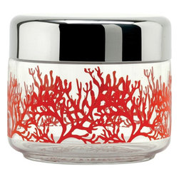 "Alessi - Alessi ""Mediterraneo"" Kitchen Jar - Corral your spices, flour, snacks or other pantry items with this canister. In your choice of four sizes, the bases are made of clear glass printed with bright red coral branches. The lids are made of shiny stainless steel to keep items fresh."