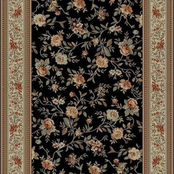 "Concord Global - Concord Global Ankara Floral Garden Black  6'7"" x 9'6"" Rug (6223) - The Ankara collection is made of heavy heat-set olefin and has the look and feel of an authentic hand made rug at a fraction of the cost. New additions to the line include transitional patterns that are up to date in the current fashion trend. Made in Turkey"