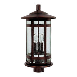 """Capital Lighting - Mission Hills Post Lantern - Mission Hills 3-Light Outdoor Post Lantern.  Burnished Bronze Finish with Seeded glass.  Takes three 60W Candelabra bulbs.  UL Listed.  Rated for Damp Environments.  Fits 3"""" posts.  Post sold seperately."""
