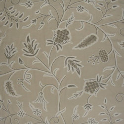 Crewel Fabric Amy Neutrals on Taupe Brown Cotton Duck- Yardage - Artisans in a remote mountain village in Kashmir crewel stitch these blossoms, vines and leaves by hand, resulting in a lush pattern of richly shaded wool yarns on Linen, Cotton, Velvet and Silk.