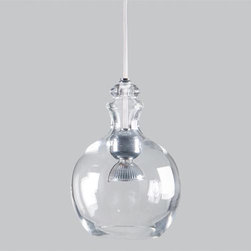 Snowlab 2 - Eureka Lighting - Designed by Snowlab, this highly modern interpretation of a traditional glass bell is a beautiful and subtle statement. Available in translucent chrome or clear blown glass hangs on a custom clear silicone cable.