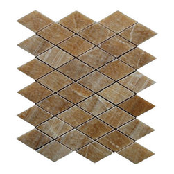 """Marbleville - Honey Onyx 1"""" x 2"""" Diamond Pattern Polished Finish Mesh-Mounted Marble Mosaic  i - Premium Grade Honey Onyx 1"""" x 2"""" Diamond Pattern Polished Mesh-Mounted Marble Mosaic is a splendid Tile to add to your decor. Its aesthetically pleasing look can add great value to the any ambience. This Mosaic Tile is constructed from durable, selected natural stone Marble material. The tile is manufactured to a high standard, each tile is hand selected to ensure quality. It is perfect for any interior/exterior projects such as kitchen backsplash, bathroom flooring, shower surround, countertop, dining room, entryway, corridor, balcony, spa, pool, fountain, etc."""