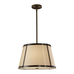 Murray Feiss - Murray Feiss Keaton Drum Shade Pendant Light in Heritage Bronze - Shown in picture: Keaton Pendant Chandelier in Heritage Bronze finish with Bronze Organza�Fabric