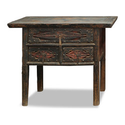 "China Furniture and Arts - Vintage Elmwood Shan Xi Table - Discovered in Shan-Xi Province, China,  this unique vintage Elmwood console is defined by a simple design and rustic character. The subtle distressed finish makes it a unique accent for any space. Features three drawers for convenient storage. The top drawer interior measures 11.75""W x 26""D x 4.5""H, and each bottom drawer measures 11.75""W x 12""D x 5""H. Perfect for displaying treasured items in the living room, dining room or hallway. Fully assembled and ready to sophisticate any room setting."