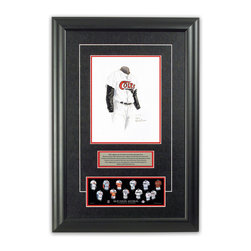 "Heritage Sports Art - Original art of the MLB 1962 Houston Astros uniform - This beautifully framed piece features an original piece of watercolor artwork glass-framed in an attractive two inch wide black resin frame with a double mat. The outer dimensions of the framed piece are approximately 17"" wide x 24.5"" high, although the exact size will vary according to the size of the original piece of art. At the core of the framed piece is the actual piece of original artwork as painted by the artist on textured 100% rag, water-marked watercolor paper. In many cases the original artwork has handwritten notes in pencil from the artist. Simply put, this is beautiful, one-of-a-kind artwork. The outer mat is a rich textured black acid-free mat with a decorative inset white v-groove, while the inner mat is a complimentary colored acid-free mat reflecting one of the team's primary colors. The image of this framed piece shows the mat color that we use (Red). Beneath the artwork is a silver plate with black text describing the original artwork. The text for this piece will read: This original, one-of-a-kind watercolor painting of the 1962 Houston Colt .45s (now Houston Astros) uniform is the original artwork that was used in the creation of this Houston Astros uniform evolution print and tens of thousands of other Houston Astros products that have been sold across North America. This original piece of art was painted by artist Nola McConnan for Maple Leaf Productions Ltd. Beneath the silver plate is a 3"" x 9"" reproduction of a well known, best-selling print that celebrates the history of the team. The print beautifully illustrates the chronological evolution of the team's uniform and shows you how the original art was used in the creation of this print. If you look closely, you will see that the print features the actual artwork being offered for sale. The piece is framed with an extremely high quality framing glass. We have used this glass style for many years with excellent results. We package every piece very carefully in a double layer of bubble wrap and a rigid double-wall cardboard package to avoid breakage at any point during the shipping process, but if damage does occur, we will gladly repair, replace or refund. Please note that all of our products come with a 90 day 100% satisfaction guarantee. Each framed piece also comes with a two page letter signed by Scott Sillcox describing the history behind the art. If there was an extra-special story about your piece of art, that story will be included in the letter. When you receive your framed piece, you should find the letter lightly attached to the front of the framed piece. If you have any questions, at any time, about the actual artwork or about any of the artist's handwritten notes on the artwork, I would love to tell you about them. After placing your order, please click the ""Contact Seller"" button to message me and I will tell you everything I can about your original piece of art. The artists and I spent well over ten years of our lives creating these pieces of original artwork, and in many cases there are stories I can tell you about your actual piece of artwork that might add an extra element of interest in your one-of-a-kind purchase."