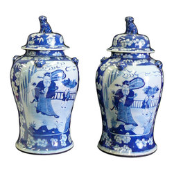 Golden Lotus - Pair Chinese Blue & White Porcelain Temple General Jars - This is a traditional Chinese decoration temple jar in blue & white color with flowers and God of fortune & kid graphic.