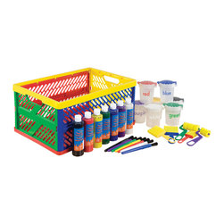 Ecr4kids - Ecr4Kids Toddlers Large Paint Crate Set W/ Collapsible Colors -27 Piece - Set includes a collapsible crate, (7) 8oz. bottles of washable paint in assorted colors (7) bilingual, non-spill paint cups with hinged, flip top lids, (7) paint brushes, (3) foam brushes, and (2) foam rollers. Washable from most clothing, but may stain porous household items.