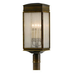 Murray Feiss - Murray Feiss Whitaker Traditional Outdoor Post Lantern Light X-BTSA7047LO - Four candelabra style lights are visible behind clear seeded glass panels for a touch of traditional elegance on this Murray Feiss outdoor post lantern light. From the Whitaker Collection, it also features a power coat Astral Bronze finish that highlights the clean lines and ensures many years of enjoyment.