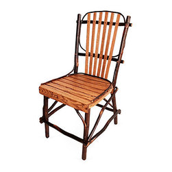"Genesee River - Rustic Dining Chair - Handcrafted in Pennsylvania hickory and oak twig style dining chair in natural finish. Seat and back are oak slats while framework is hickory. Not for outdoor use, dimensions are approximate due to nature of product. Seat height 16.5""."