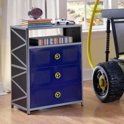 Powell Dune Buggy Nightstand - Surprise your little man with the entertaining Powell Dune Buggy Nightstand. Its long-lasting metal construction is designed as a garage toolbox perfect for your racing-car-inspired son or daughter. In your choice of available finish options this creative nightstand features one shelf and three drawers that offer ample space for all your child's storing needs. On each drawer is a fun car steering-wheel-shaped hardware knob adding to its racing theme. More About Powell FurnitureBased in Culver City Calif. the Powell company designs imports and distributes occasional dining accent and youth furniture across all style categories. Since 1968 Powell has grown to become one of the most recognized names in the home furniture industry. From sturdy safe children's furniture to elegant bedroom and other home collections Powell continues to develop new and exciting designs for homes around the globe.