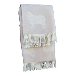 """Happy Blanket - 100% Lambs Wool Throw Blanket Sheep 51"""" X 67"""", Cream - Wool is a natural temperature regulator, naturally hypoallergenic, naturally breathable and even improves sleep quality."""
