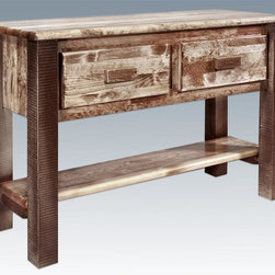 Montana Woodworks - Entry Table in Stained and Lacquered Finish - Two spacious drawers and a full length shelf. Skip peeled. Solid lodge pole pine legs and trim. Edge glued structure. Handcrafted. Timbers and trim pieces. Sawn square for rustic timber frame design. Heirloom quality. Durable build, fit and finish. Sprayed with three coats of premium grade, clear lacquer. Made from American solid grown wood. Made in USA. No assembly required. 48 in. W x 17 in. D x 33 in. H (66 lbs.). Use and Care Instructions. WarrantyThe artisans rough saw all the timbers and accessory trim pieces for a look uniquely reminiscent of the timber framed homes once found on the American frontier. This delightfully practical table serves to hold and keep safe the many items found in entry or living areas.