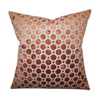 """The Pillow Collection - Kostya Geometric Pillow Copper 18"""" x 18"""" - Create a stylish and modern look to your interiors with this accent pillow. This throw pillow features a lovely copper hue and adorned with a geometric pattern. This indoor pillow adds a touch of sophistication to your living room, bedroom or lounge area. Constructed with 100% velvet material, this square pillow is made in the USA. Hidden zipper closure for easy cover removal.  Knife edge finish on all four sides.  Reversible pillow with the same fabric on the back side.  Spot cleaning suggested."""