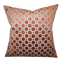 The Pillow Collection - Kostya Geometric Pillow Copper - Create a stylish and modern look to your interiors with this accent pillow. This throw pillow features a lovely copper hue and adorned with a geometric pattern. This indoor pillow adds a touch of sophistication to your living room, bedroom or lounge area. Constructed with 100% velvet material, this square pillow is made in the USA. Hidden zipper closure for easy cover removal.  Knife edge finish on all four sides.  Reversible pillow with the same fabric on the back side.  Spot cleaning suggested.