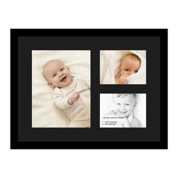 ArtToFrames - ArtToFrames Collage Photo Frame  with 1 - 10x13 and 2 - 6x8 Openings - This classic Satin Black, 1.25 inch thick collage frame, comes equipped with a multiple opening display for 1 - 10x13 and 2 - 6x8 pictures of your choice. This collage is part of an array collage frame compilation and boasts a broad line of carefully constructed frames at a affordable price tag you can feel good about! Handmade and constructed to outfit your pictures making sure you 1 - 10x13 and 2 - 6x8 art will fit just right. Bordered in an eye-catching Satin Black, smooth frame and joined by a sophisticated Black mat, the collage arrangement most definitely shows off your photographs, and beloved memories in an entirely unique and memorable way. This collage frame comes protected in Styrene, handy with proper hardware and can be on display within a few seconds. These premium quality and rustic wood-based collage frames change in style and size specifics; all in contemporary and modern design. Mats are available in a assemblage of color tones, openings, and shapes. It's time to tell your story! Preserving your memories in an original and imaginative new way has never been easier.