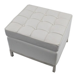 Fine Mod Imports - Button White Leather Ottoman - Features: