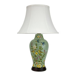 "Oriental Furniture - 24"" Birds and Flowers Porcelain Jar Lamp - A warm summer scene adorns the sides of this decorative porcelain lamp. Inspired by mid-century paintings, this lamp depicts blue songbirds in flight over the flower garden and roosting canaries below. The soft pastel colors and the warm glow of the lamp are perfect for bringing a summery accent to your decor all year round."