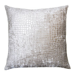 Square Feathers - Metallic Croco Pillow - This subtle crocodile pattern blows any preconceptions you may have had about animal print out of the water. In soft chenille, it's an unexpected take and fabulously faux.