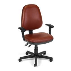 Skutchi - Computer Task Chair W/Arms - Wine Vinyl - COMPUTER TASK CHAIR W/ARMS-CHARCOAL VNYL