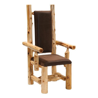 Fireside Lodge Furniture - Cedar Upholstered High-Back Log Arm Chair (St - Fabric: StickleyCedar Collection. Northern White Cedar logs are hand peeled to accentuate their natural character and beauty. Clear coat catalyzed lacquer finish for extra durability. 2-Year limited warranty. 19 in. W x 24 in. D x 47 in. H (30 lbs.)