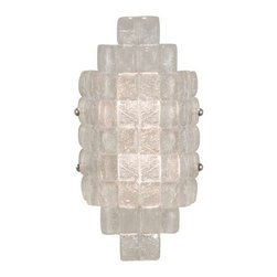 840650ST Sconce Constructivism - Sconce of individually cast Moonlit Mist clear glass pillow-shaped pieces, fused at high temperature in a hand-laid cobblestone pattern. The sole lenses create a fascinating light diffuser & sculptural form. Exposed metal in hand-applied silver leaf.