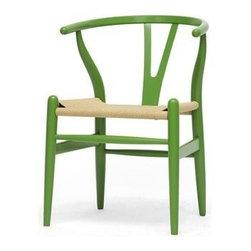 Wholesale Interiors -Mid-Century Modern Wishbone Chair - Green Wood Y Chair - DC - Mid-century modern dining chair